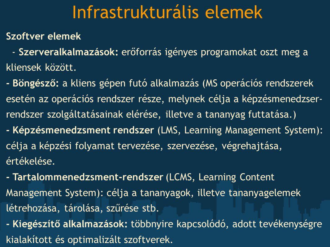 Infrastrukturális elemek Szoftver elemek - Szerveralkalmazások: erőforrás igényes programokat oszt meg a kliensek között. - Böngésző: a kliens gépen f