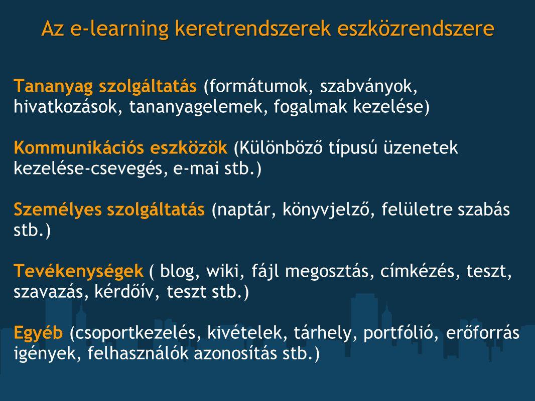 Az e-learning keretrendszerek eszközrendszere Tananyag szolgáltatás (formátumok, szabványok, hivatkozások, tananyagelemek, fogalmak kezelése) Kommunik
