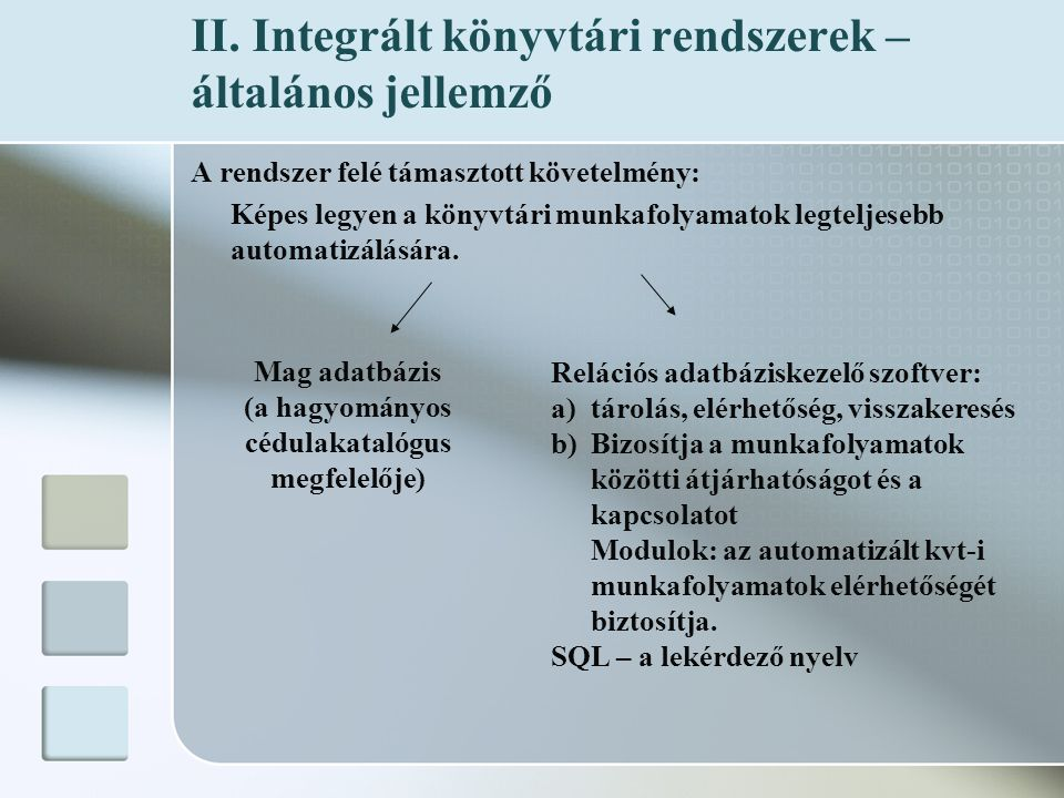 II. Integrált könyvtári rendszerek – általános jellemző A rendszer felé támasztott követelmény: Képes legyen a könyvtári munkafolyamatok legteljesebb