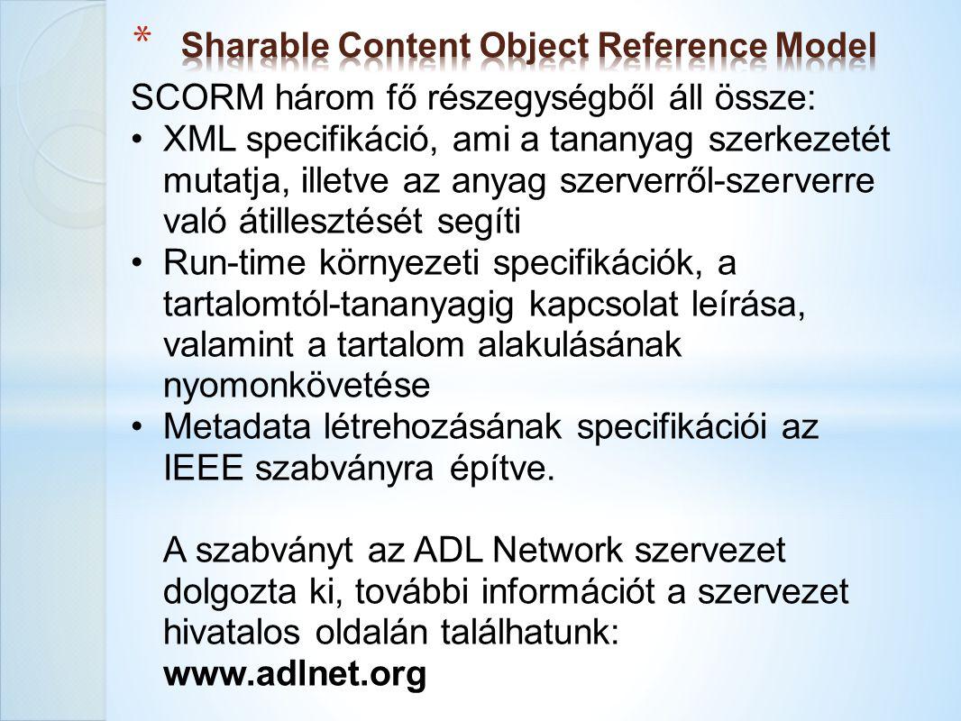 SCORM három fő részegységből áll össze: XML specifikáció, ami a tananyag szerkezetét mutatja, illetve az anyag szerverről-szerverre való átillesztését
