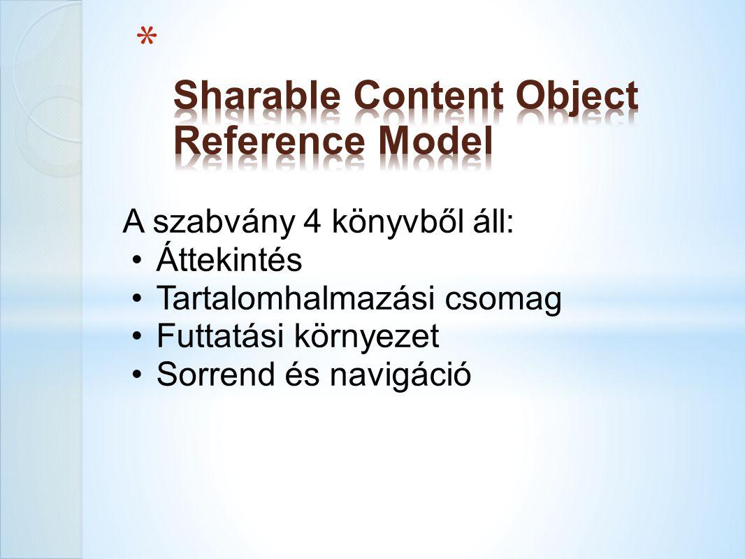 A szabvány 4 könyvből áll: Áttekintés Tartalomhalmazási csomag Futtatási környezet Sorrend és navigáció