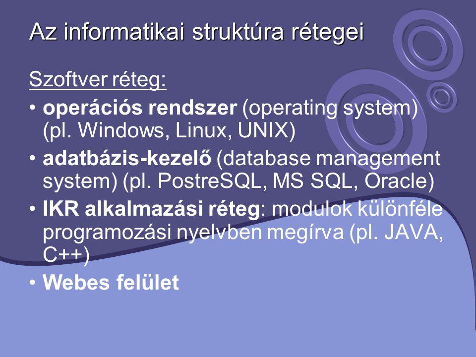 Az informatikai struktúra rétegei Szoftver réteg: operációs rendszer (operating system) (pl. Windows, Linux, UNIX) adatbázis-kezelő (database manageme