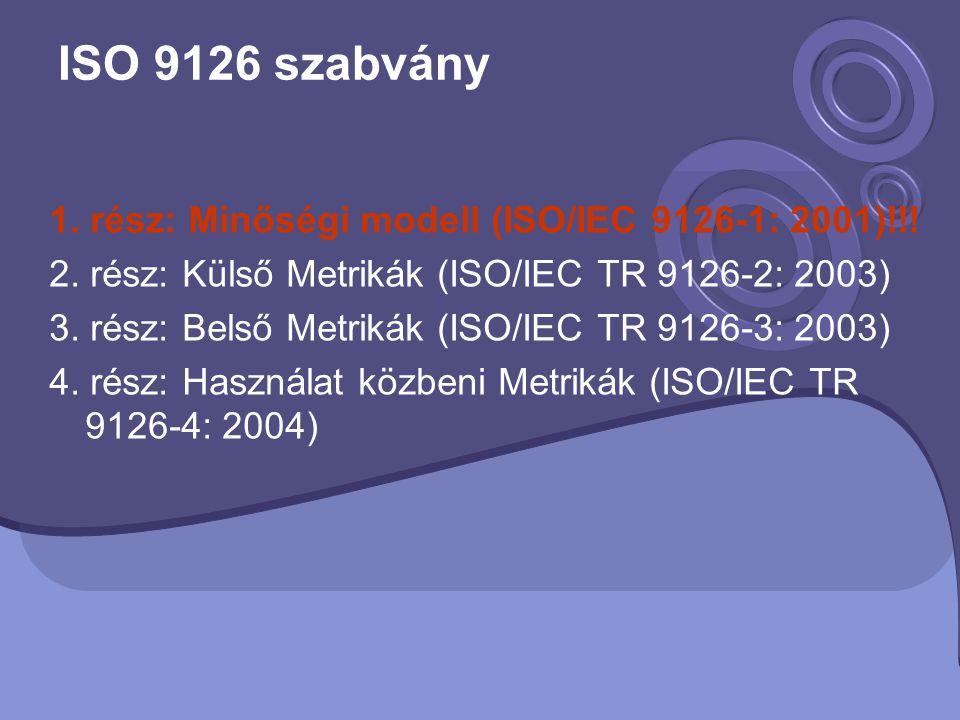 ISO 9126 szabvány 1. rész: Minőségi modell (ISO/IEC 9126-1: 2001)!!! 2. rész: Külső Metrikák (ISO/IEC TR 9126-2: 2003) 3. rész: Belső Metrikák (ISO/IE