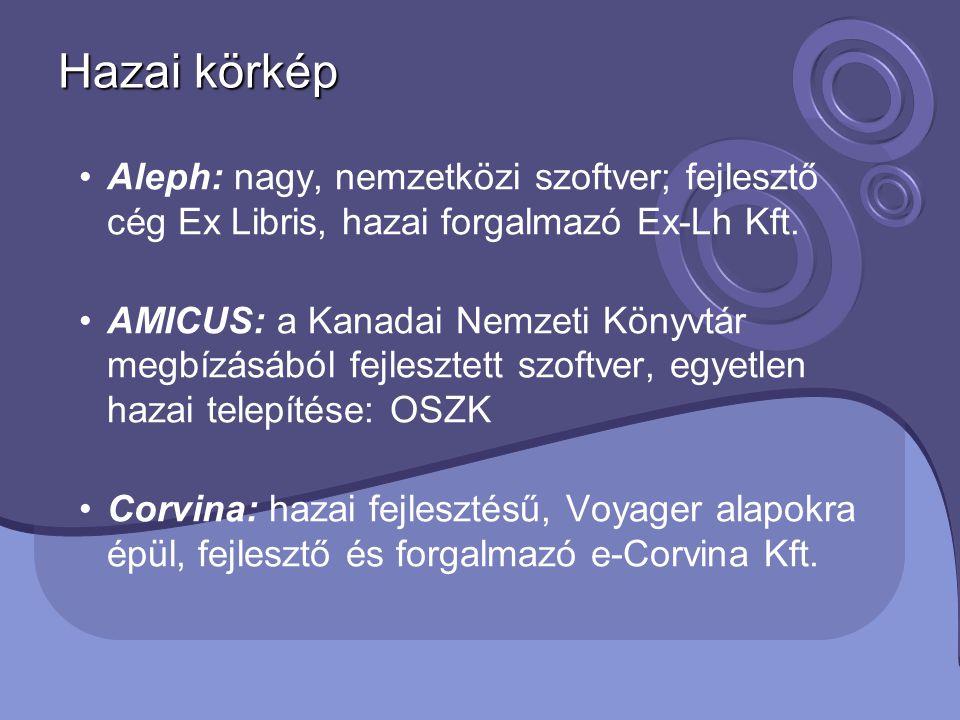 Hazai körkép Aleph: nagy, nemzetközi szoftver; fejlesztő cég Ex Libris, hazai forgalmazó Ex-Lh Kft. AMICUS: a Kanadai Nemzeti Könyvtár megbízásából fe