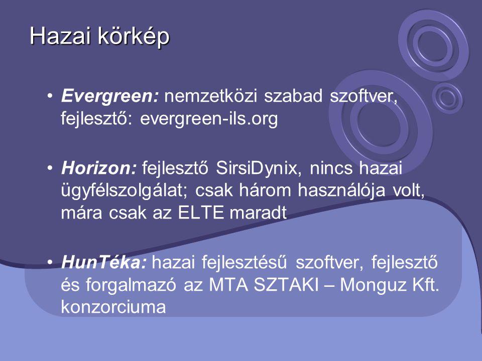 Hazai körkép Evergreen: nemzetközi szabad szoftver, fejlesztő: evergreen-ils.org Horizon: fejlesztő SirsiDynix, nincs hazai ügyfélszolgálat; csak háro