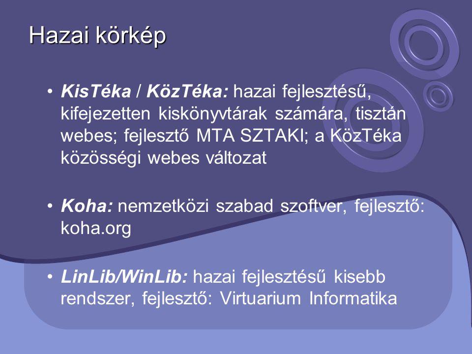Hazai körkép KisTéka / KözTéka: hazai fejlesztésű, kifejezetten kiskönyvtárak számára, tisztán webes; fejlesztő MTA SZTAKI; a KözTéka közösségi webes