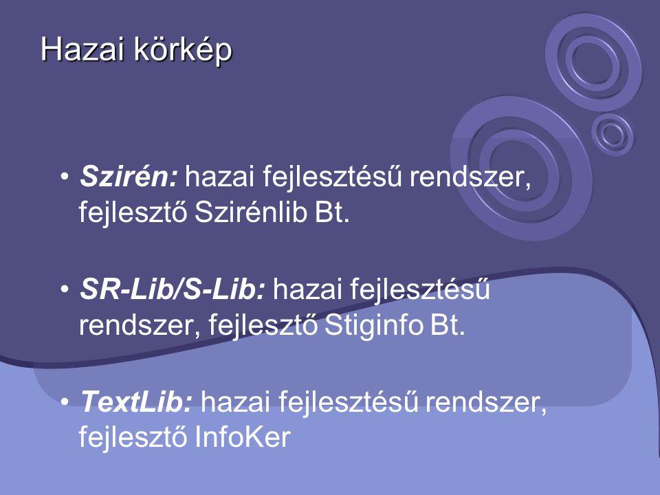 Hazai körkép Szirén: hazai fejlesztésű rendszer, fejlesztő Szirénlib Bt. SR-Lib/S-Lib: hazai fejlesztésű rendszer, fejlesztő Stiginfo Bt. TextLib: haz