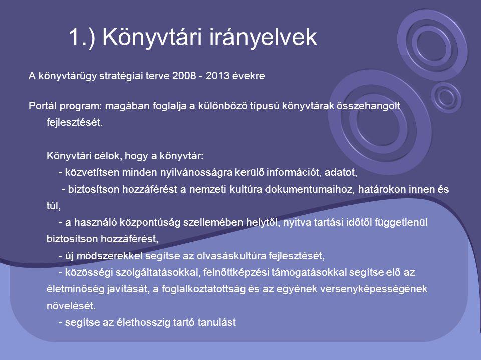 A könyvtárügy stratégiai terve 2008 - 2013 évekre Portál program: magában foglalja a különböző típusú könyvtárak összehangolt fejlesztését. Könyvtári