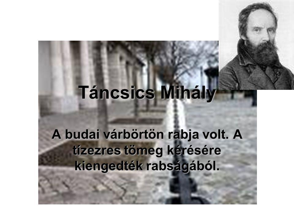 Táncsics Mihály A budai várbörtön rabja volt. A tízezres tömeg kérésére kiengedték rabságából.
