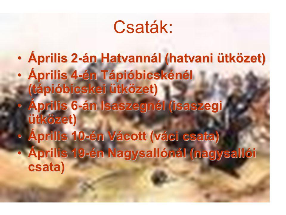 Csaták: Április 2-án Hatvannál (hatvani ütközet)Április 2-án Hatvannál (hatvani ütközet) Április 4-én Tápióbicskénél (tápióbicskei ütközet)Április 4-é
