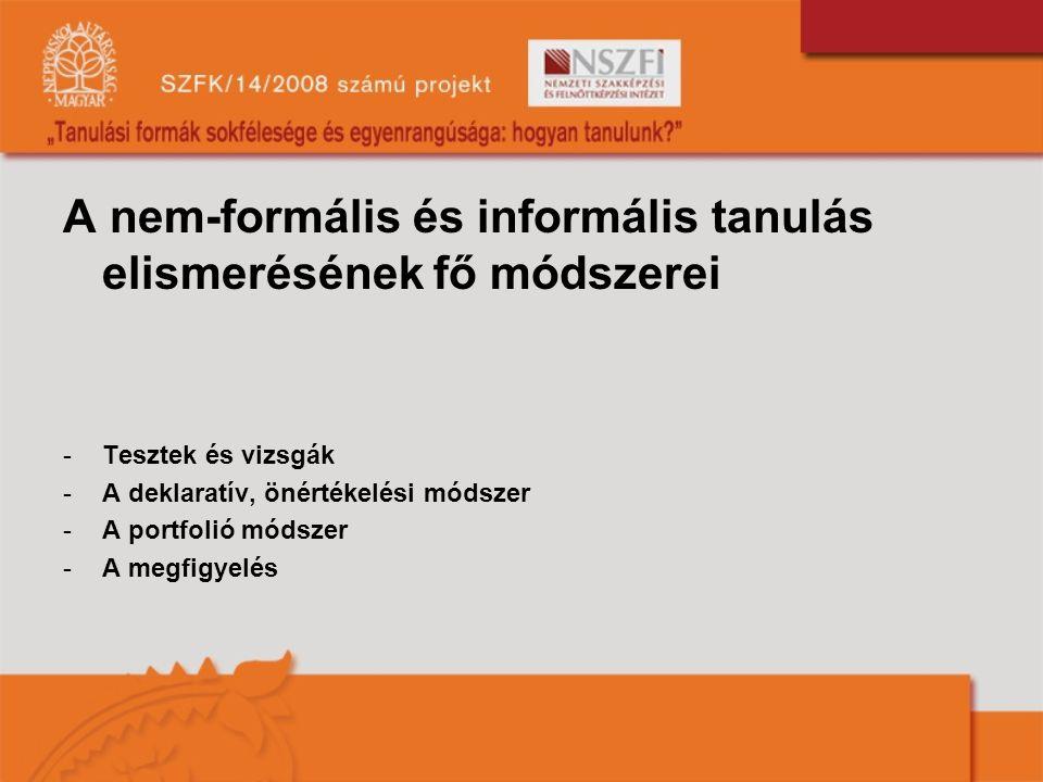 A nem-formális és informális tanulás elismerésének fő módszerei -Tesztek és vizsgák -A deklaratív, önértékelési módszer -A portfolió módszer -A megfigyelés