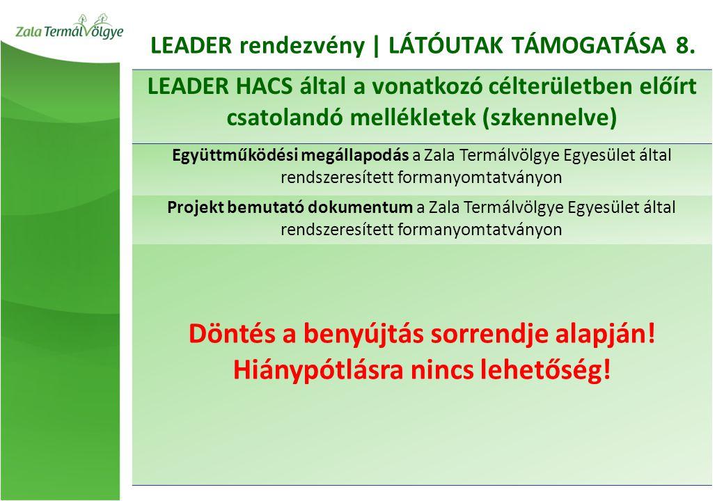 LEADER rendezvény | LÁTÓUTAK TÁMOGATÁSA 8.