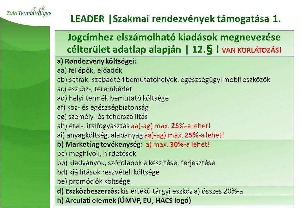 LEADER |Szakmai rendezvények támogatása 1.