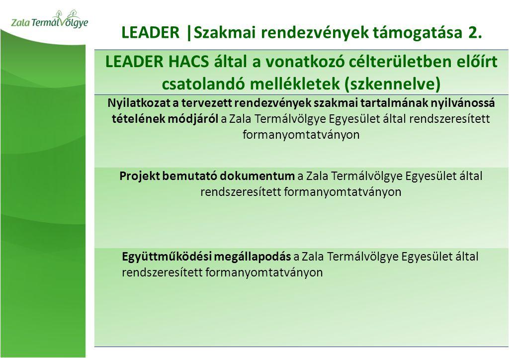 LEADER |Szakmai rendezvények támogatása 2.
