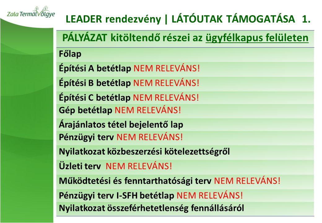 LEADER rendezvény | LÁTÓUTAK TÁMOGATÁSA 1.