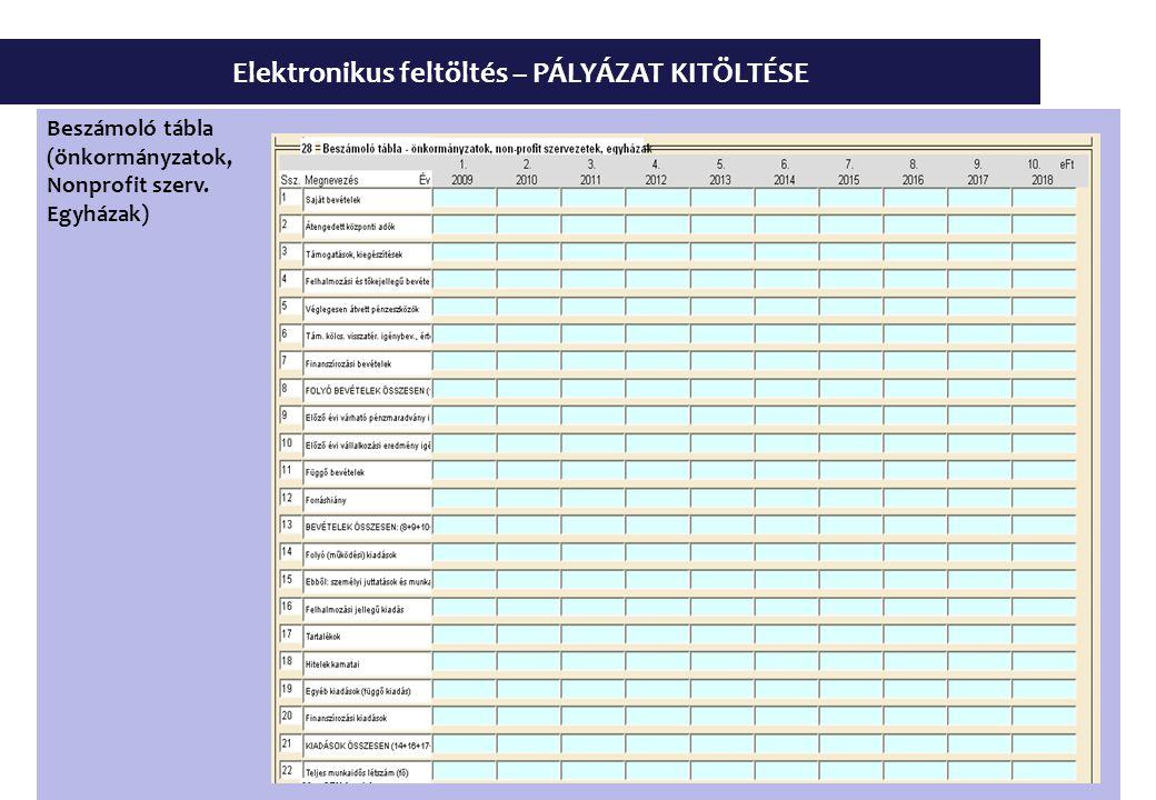 Elektronikus feltöltés – PÁLYÁZAT KITÖLTÉSE Beszámoló tábla (önkormányzatok, Nonprofit szerv.