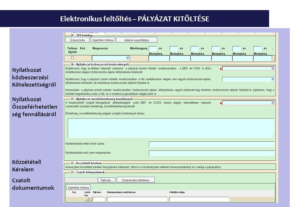Elektronikus feltöltés – PÁLYÁZAT KITÖLTÉSE Nyilatkozat közbeszerzési Kötelezettségről Nyilatkozat Összeférhetetlen ség fennállásáról Közzétételi Kérelem Csatolt dokumentumok