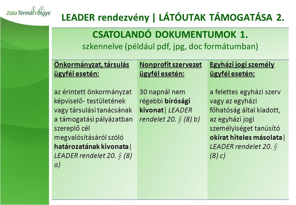 LEADER rendezvény | LÁTÓUTAK TÁMOGATÁSA 2. CSATOLANDÓ DOKUMENTUMOK 1.