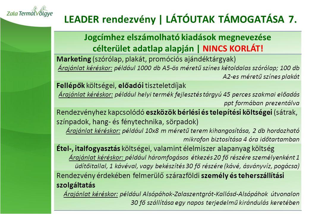 LEADER rendezvény | LÁTÓUTAK TÁMOGATÁSA 7.