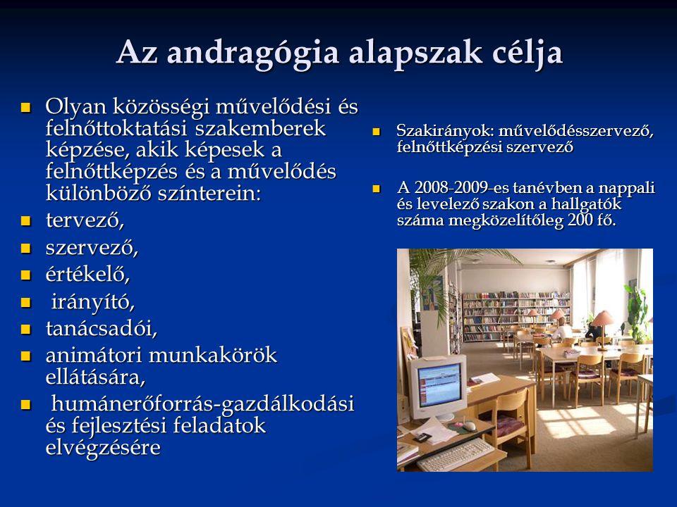 Együttműködések, megvalósítások Szoros kapcsolat a 18 magyar felsőoktatási intézménnyel, melyeken andragógia szakos képzés folyik Szoros kapcsolat a 18 magyar felsőoktatási intézménnyel, melyeken andragógia szakos képzés folyik A szak tanárai országos tanácskozásának megrendezése A szak tanárai országos tanácskozásának megrendezése Széleskörű kapcsolatok kialakítása a felnőttképzési és művelődést ellátó intézményrendszer minden szektorával.