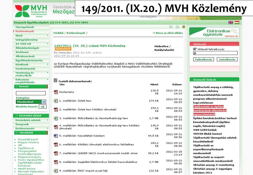 149/2011. (IX.20.) MVH Közlemény