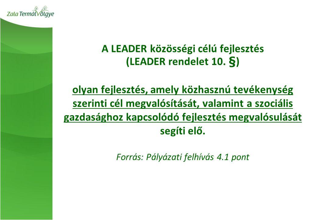 A LEADER közösségi célú fejlesztés (LEADER rendelet 10. §) olyan fejlesztés, amely közhasznú tevékenység szerinti cél megvalósítását, valamint a szoci