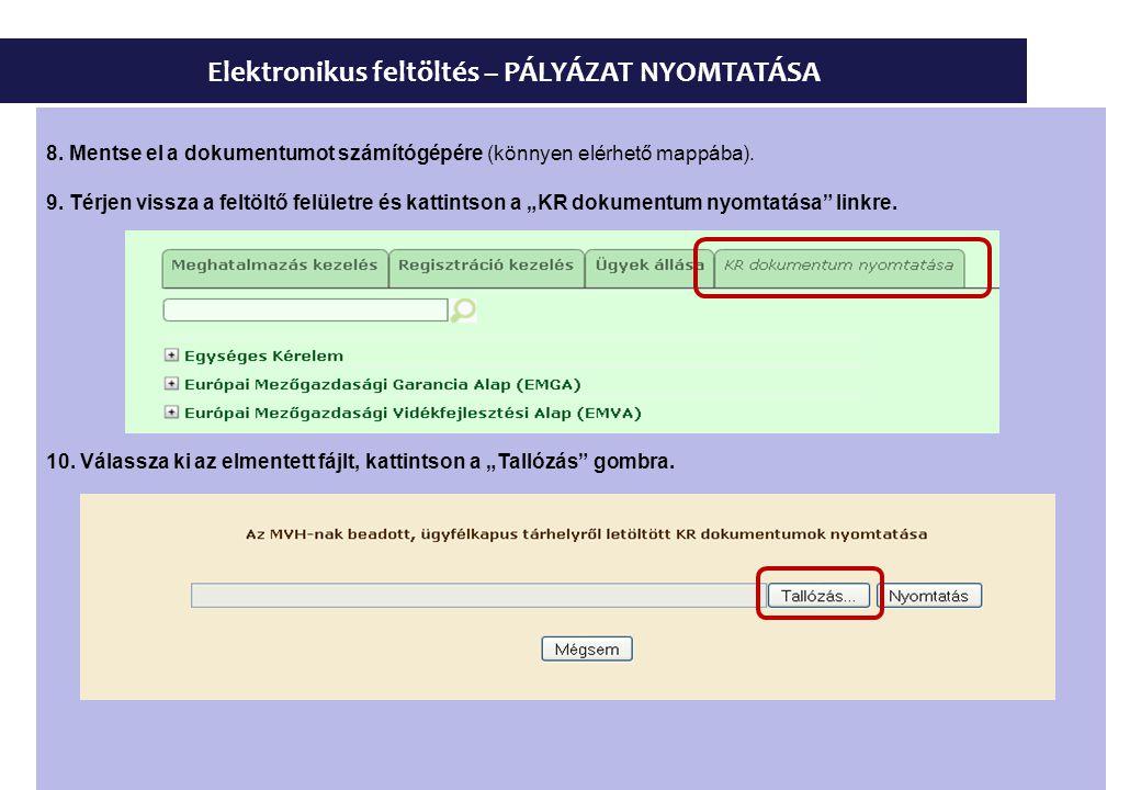 Elektronikus feltöltés – PÁLYÁZAT NYOMTATÁSA 8. Mentse el a dokumentumot számítógépére (könnyen elérhető mappába). 9. Térjen vissza a feltöltő felület