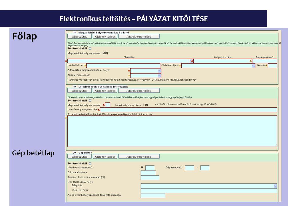 Elektronikus feltöltés – PÁLYÁZAT KITÖLTÉSE Főlap Gép betétlap