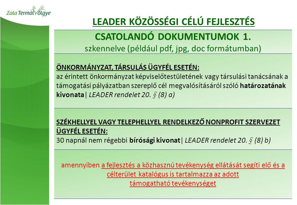 CSATOLANDÓ DOKUMENTUMOK 1. szkennelve (például pdf, jpg, doc formátumban) ÖNKORMÁNYZAT, TÁRSULÁS ÜGYFÉL ESETÉN: az érintett önkormányzat képviselőtest