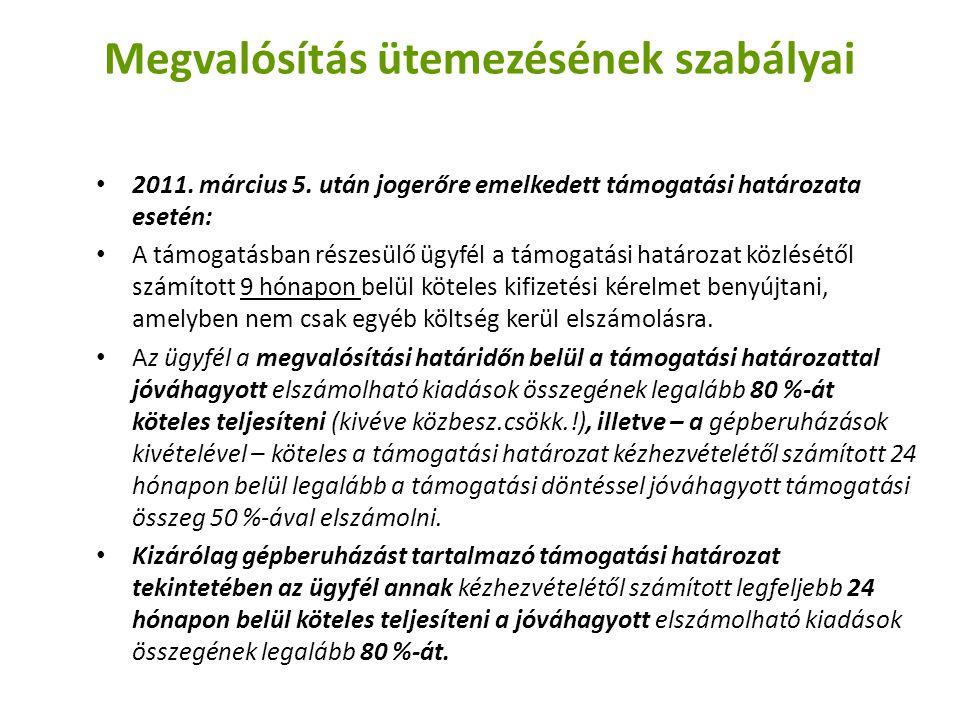 Megvalósítás ütemezésének szabályai 2011.március 5.