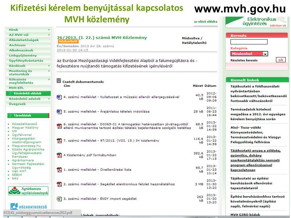 www.mvh.gov.hu Kifizetési kérelem benyújtással kapcsolatos MVH közlemény