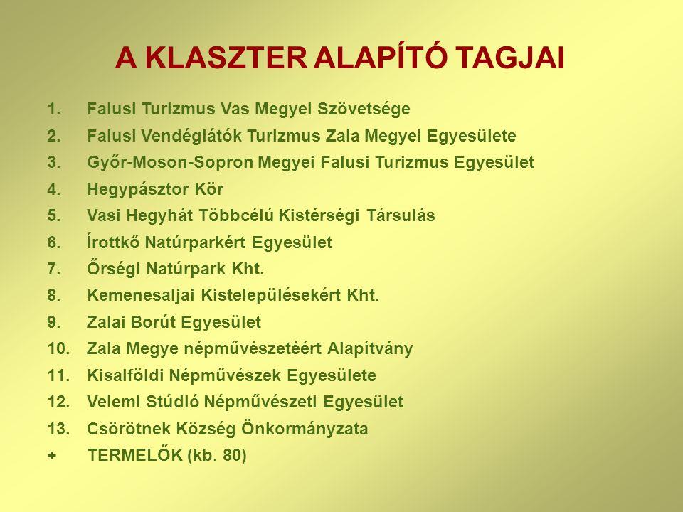 A KLASZTER ALAPÍTÓ TAGJAI 1.Falusi Turizmus Vas Megyei Szövetsége 2.Falusi Vendéglátók Turizmus Zala Megyei Egyesülete 3.Győr-Moson-Sopron Megyei Falu