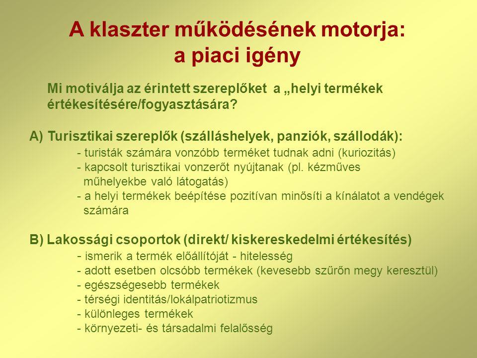 """A klaszter működésének motorja: a piaci igény Mi motiválja az érintett szereplőket a """"helyi termékek értékesítésére/fogyasztására."""