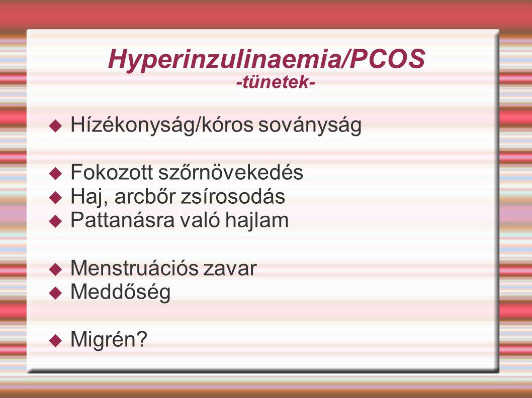 Hyperinzulinaemia/PCOS -tünetek-  Hízékonyság/kóros soványság  Fokozott szőrnövekedés  Haj, arcbőr zsírosodás  Pattanásra való hajlam  Menstruáci