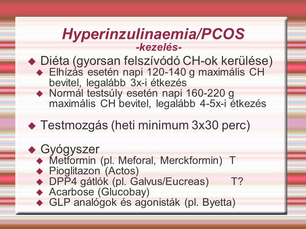 Hyperinzulinaemia/PCOS -kezelés-  Diéta (gyorsan felszívódó CH-ok kerülése)  Elhízás esetén napi 120-140 g maximális CH bevitel, legalább 3x-i étkez