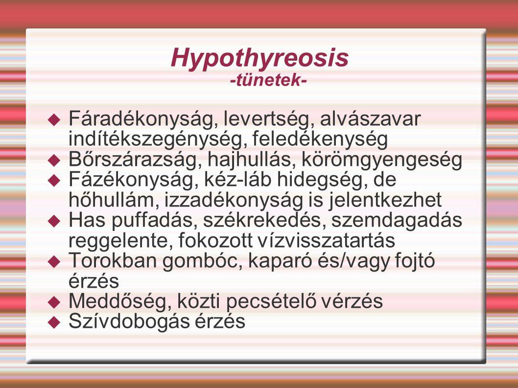 Hypothyreosis -tünetek-  Fáradékonyság, levertség, alvászavar indítékszegénység, feledékenység  Bőrszárazság, hajhullás, körömgyengeség  Fázékonysá