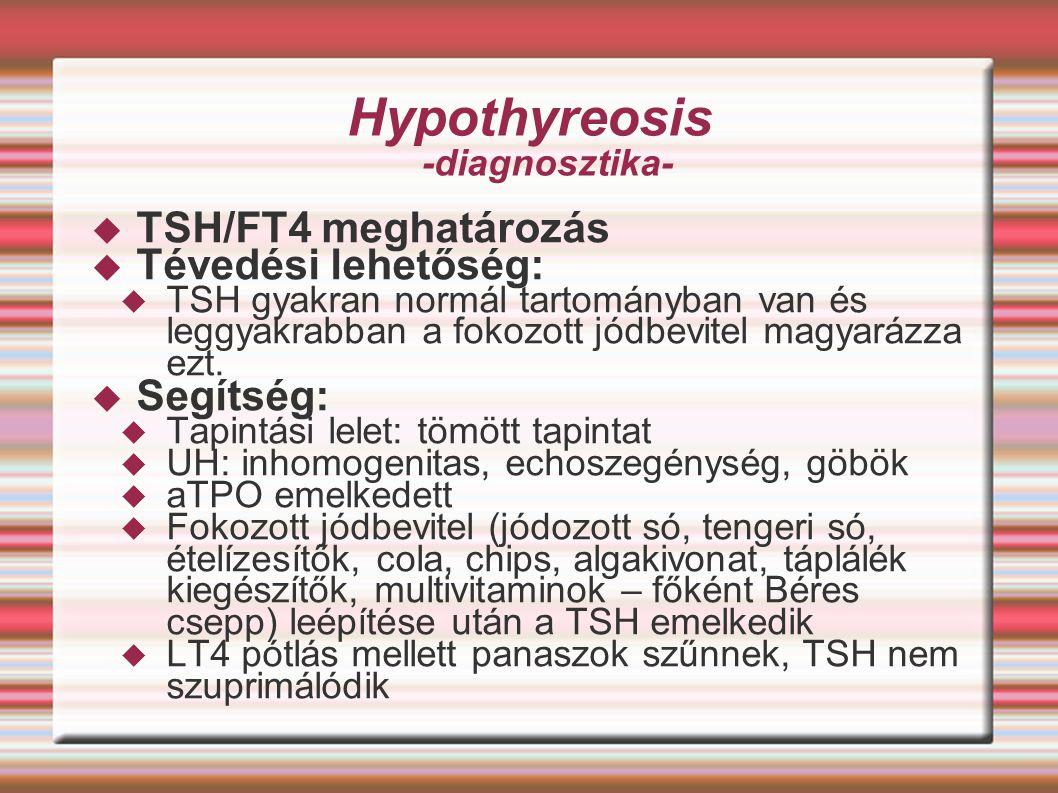 Hypothyreosis -diagnosztika-  TSH/FT4 meghatározás  Tévedési lehetőség:  TSH gyakran normál tartományban van és leggyakrabban a fokozott jódbevitel