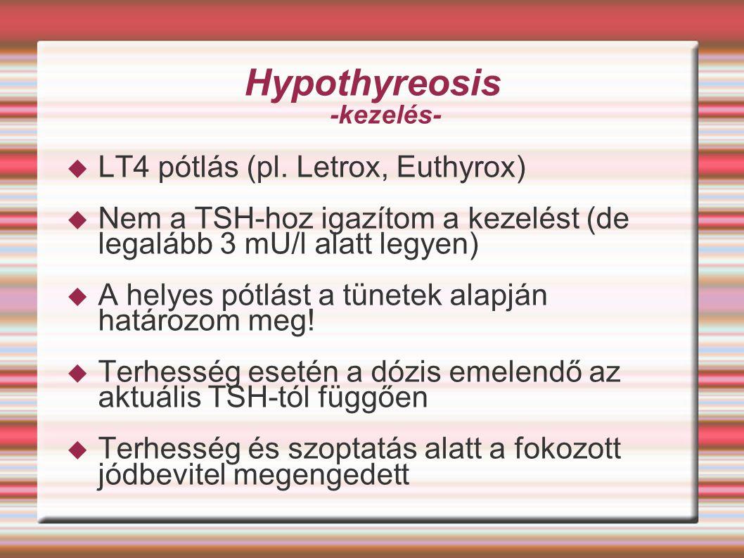 Hypothyreosis -kezelés-  LT4 pótlás (pl. Letrox, Euthyrox)  Nem a TSH-hoz igazítom a kezelést (de legalább 3 mU/l alatt legyen)  A helyes pótlást a