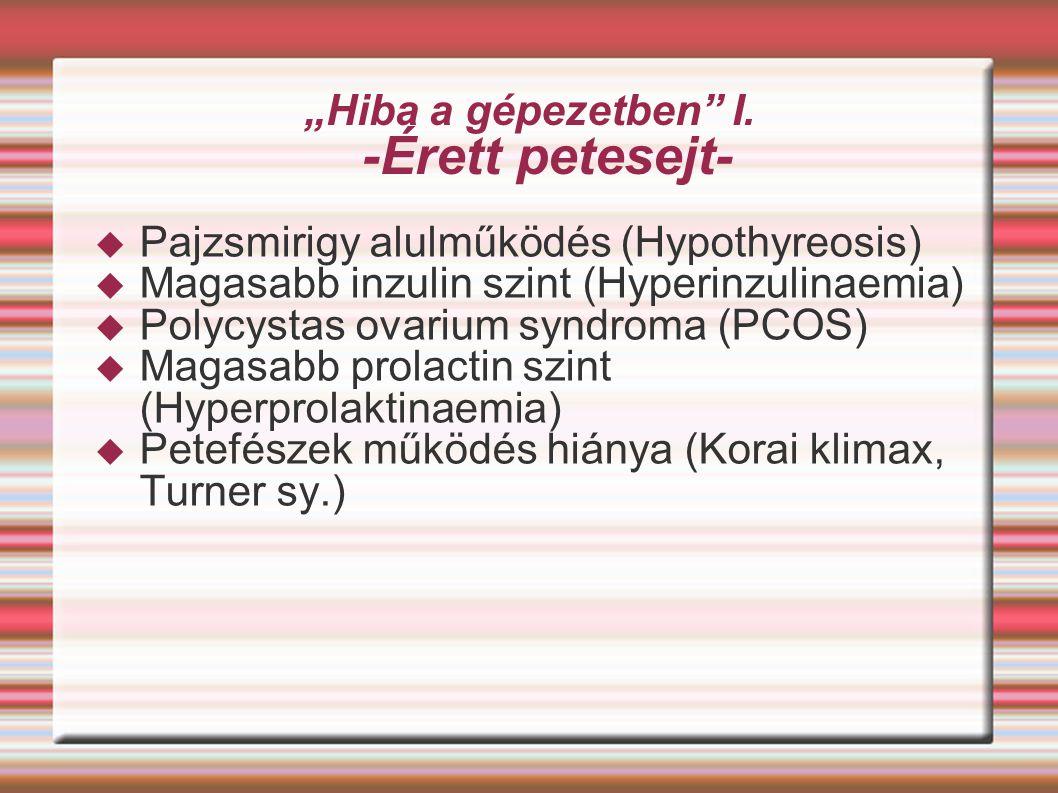 """""""Hiba a gépezetben"""" I. -Érett petesejt-  Pajzsmirigy alulműködés (Hypothyreosis)  Magasabb inzulin szint (Hyperinzulinaemia)  Polycystas ovarium sy"""