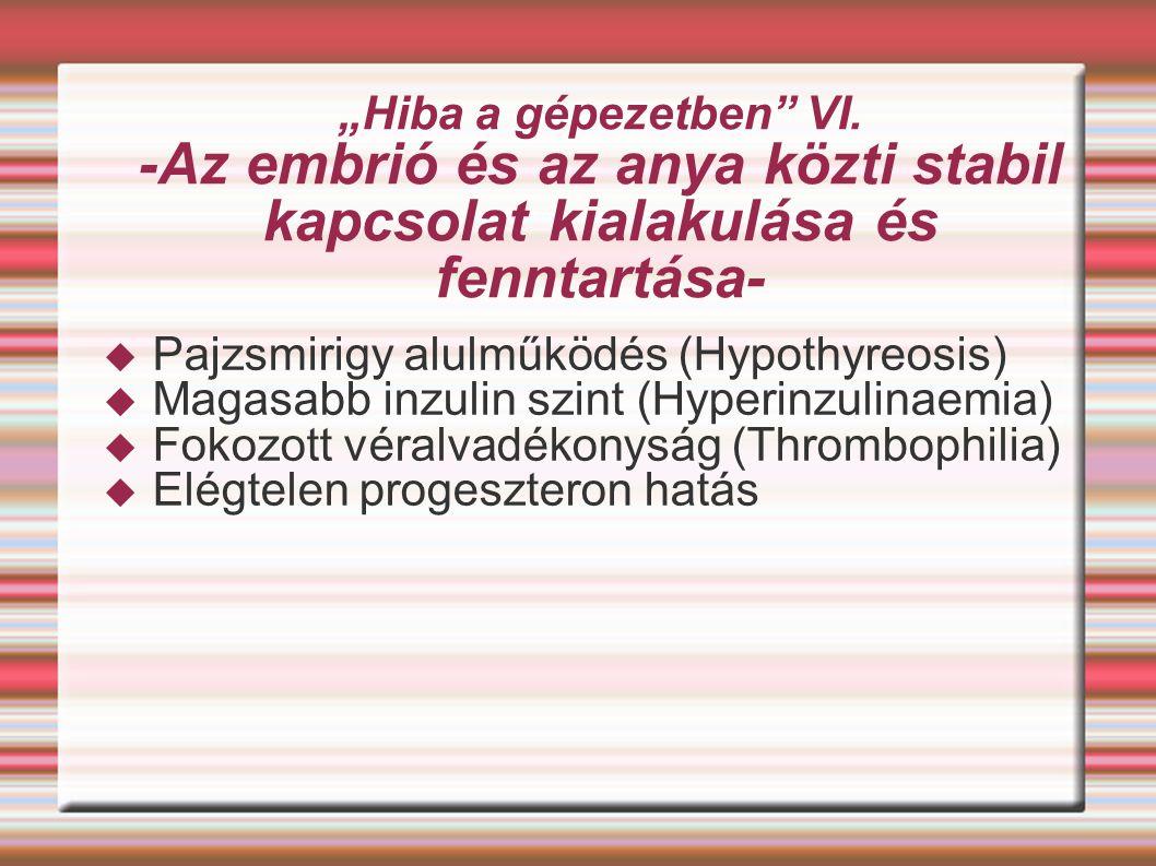 """""""Hiba a gépezetben"""" VI. -Az embrió és az anya közti stabil kapcsolat kialakulása és fenntartása-  Pajzsmirigy alulműködés (Hypothyreosis)  Magasabb"""