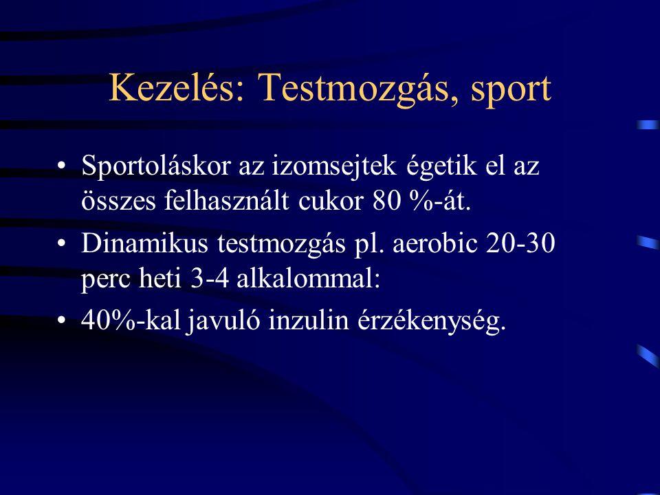 Kezelés: Testmozgás, sport Sportoláskor az izomsejtek égetik el az összes felhasznált cukor 80 %-át. Dinamikus testmozgás pl. aerobic 20-30 perc heti