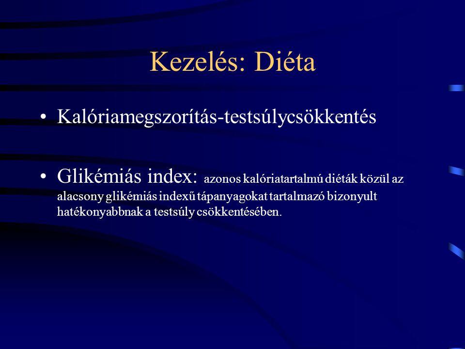 Kezelés: Diéta Kalóriamegszorítás-testsúlycsökkentés Glikémiás index: azonos kalóriatartalmú diéták közül az alacsony glikémiás indexű tápanyagokat ta