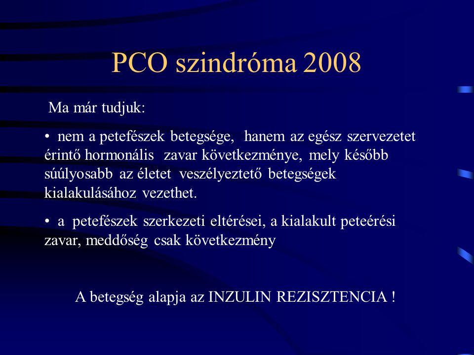 A PCO Syndroma mint a metabolikus syndroma korai megjelenési formája A közös ok az inzulin rezisztencia (csökkent inzulin érzékenység) ennek következménye a szervezet fokozódó inzulin termelése az emelkedett inzulin szint vércukor ingadozáshoz, állandós éhségérzéshez, hízáshoz vezet Az emelkedett inzulin szint a petefészek működés zavarát okozza ( tesztoszteron túltermelés, peteérés hiánya)