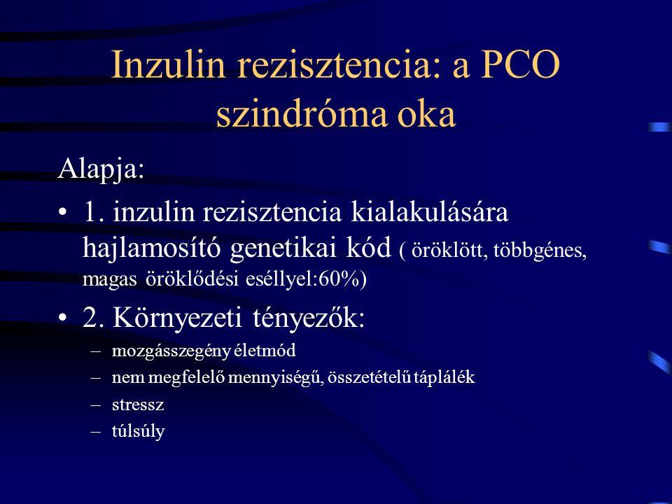 Inzulin rezisztencia: a PCO szindróma oka Alapja: 1. inzulin rezisztencia kialakulására hajlamosító genetikai kód ( öröklött, többgénes, magas öröklőd