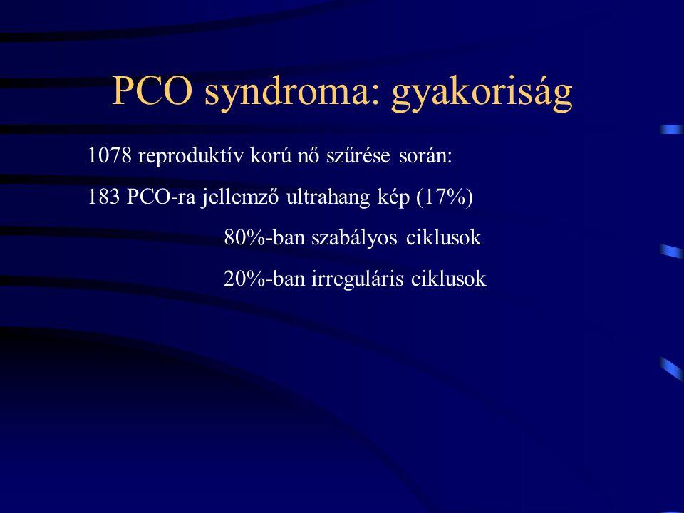 PCO syndroma: gyakoriság 1078 reproduktív korú nő szűrése során: 183 PCO-ra jellemző ultrahang kép (17%) 80%-ban szabályos ciklusok 20%-ban irregulári