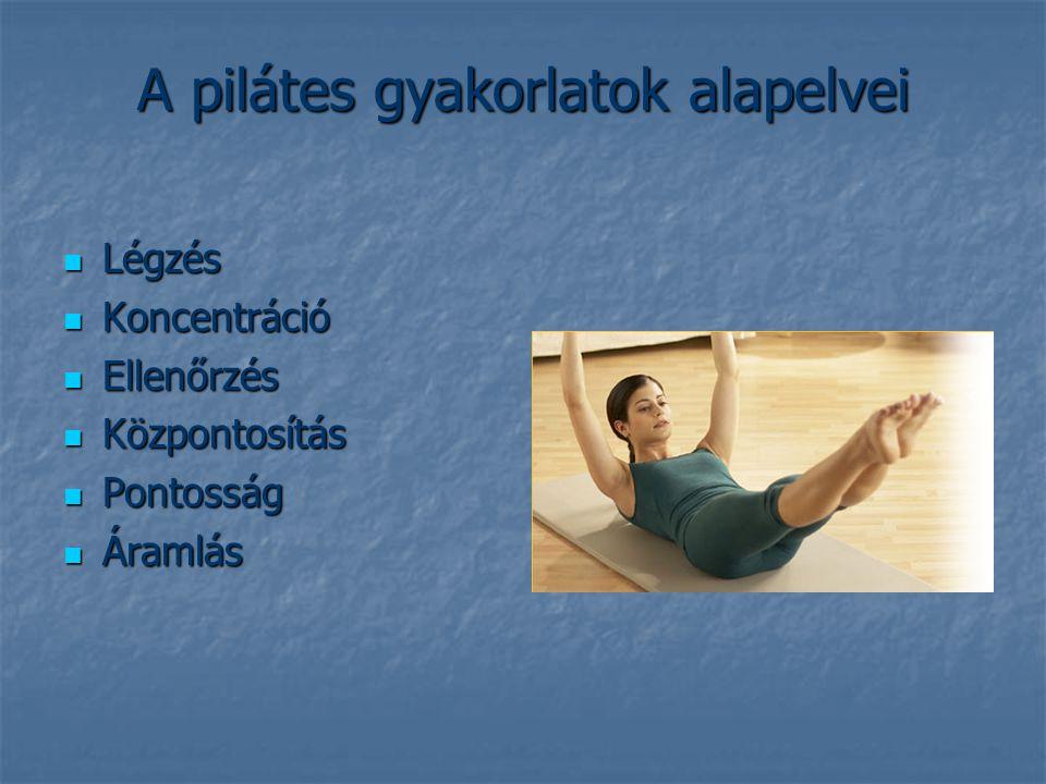 Hogyan épül fel a pilátes rendszere: Alapos bemelegítés,átmozgatás Alapos bemelegítés,átmozgatás Erősítő gyakorlatok Erősítő gyakorlatok ( kihangsúlyozva a has- hát-far és combizom ) ( kihangsúlyozva a has- hát-far és combizom ) Hangsúlyt kapnak a nyújtó gyakorlatok Hangsúlyt kapnak a nyújtó gyakorlatok