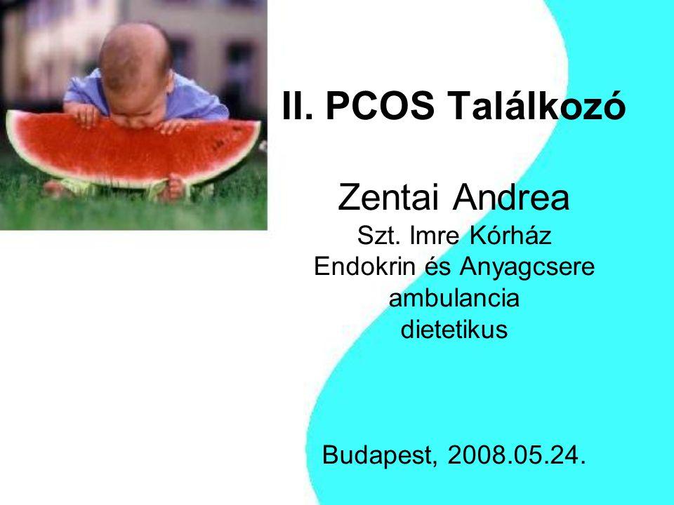 II. PCOS Találkozó Zentai Andrea Szt. Imre Kórház Endokrin és Anyagcsere ambulancia dietetikus Budapest, 2008.05.24.