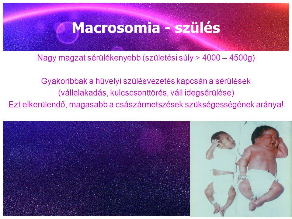 Macrosomia - szülés Nagy magzat sérülékenyebb (születési súly > 4000 – 4500g) Gyakoribbak a hüvelyi szülésvezetés kapcsán a sérülések (vállelakadás, k