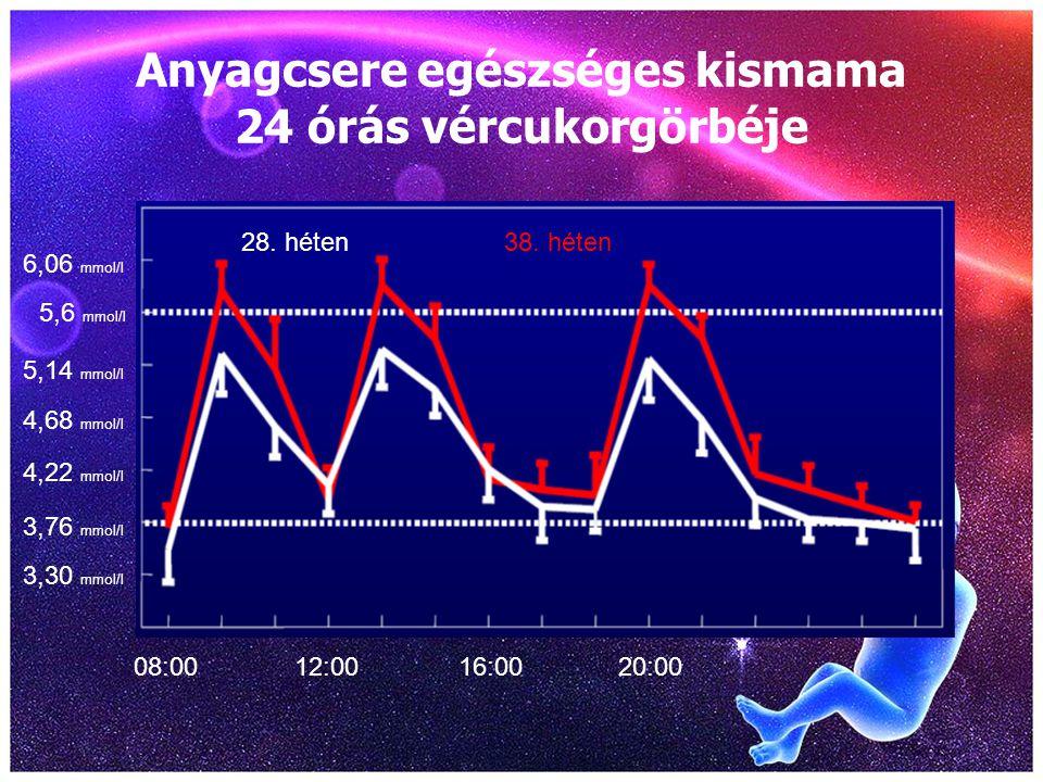 Anyagcsere egészséges kismama 24 órás vércukorgörbéje 08:0012:0016:0020:00 3,30 mmol/l 5,6 mmol/l 28. héten38. héten 6,06 mmol/l 3,76 mmol/l 4,22 mmol
