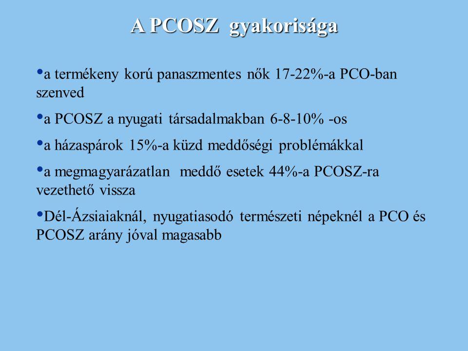 A PCOSZ gyakorisága a termékeny korú panaszmentes nők 17-22%-a PCO-ban szenved a PCOSZ a nyugati társadalmakban 6-8-10% -os a házaspárok 15%-a küzd me